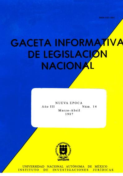 Gaceta informativa de legislación nacional, núm. 14