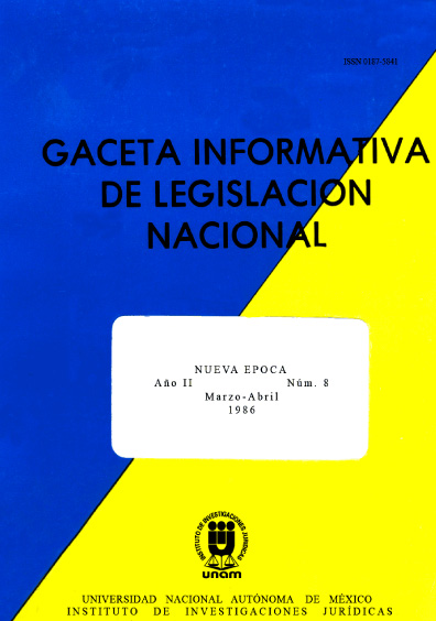Gaceta informativa de legislación nacional, núm. 8