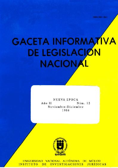 Gaceta informativa de legislación nacional, núm. 12