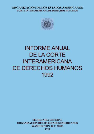 Informe anual de la Corte Interamericana de Derechos Humanos 1992