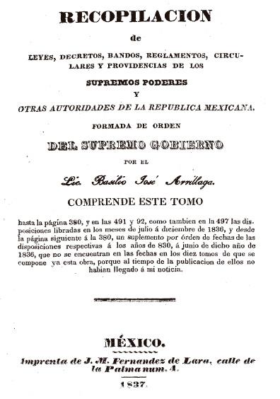 Recopilación de leyes, decretos, bandos, reglamentos, circulares y providencias de los supremos poderes y otras autoridades de la República Mexicana, t. IX