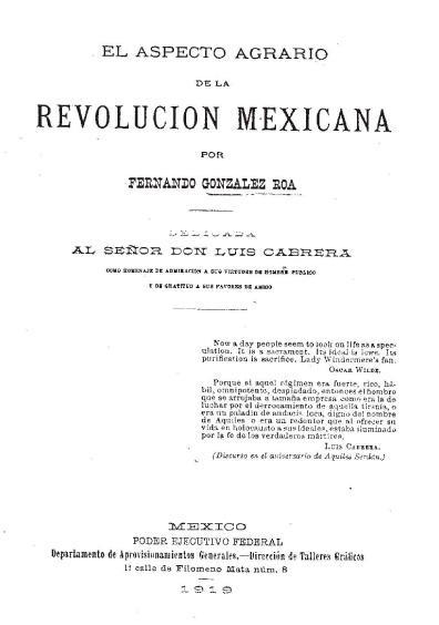 El aspecto agrario de la Revolución mexicana