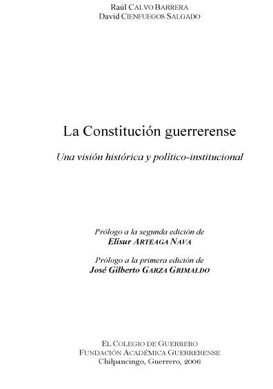 La Constitución guerrerense. Una visión histórica y político-institucional