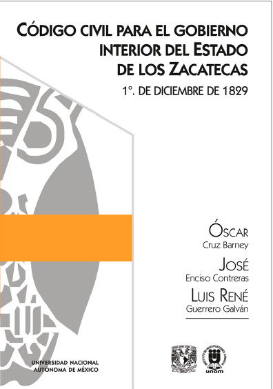 Código Civil para el Gobierno Interior del Estado de los Zacatecas, 1o. de diciembre de 1829