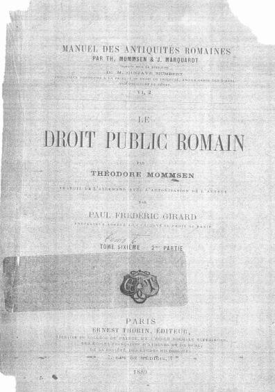 Le droit public romain, tome sixième-2me partie