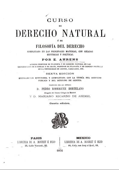 Curso de derecho natural o de la filosofía del derecho