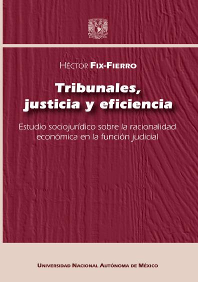 Tribunales, justicia y eficiencia. Estudio sociojurídico sobre la racionalidad económica en la función judicial. 1a. reimpresión electrónica