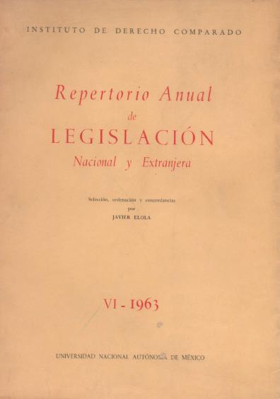 Repertorio anual de legislación nacional y extranjera, VI-1963