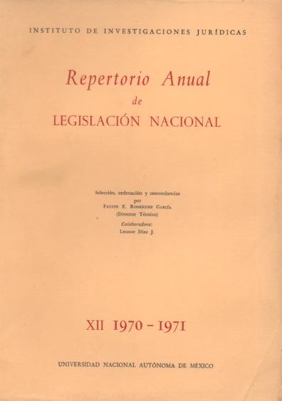 Repertorio anual de legislación nacional, XII-1970-1971