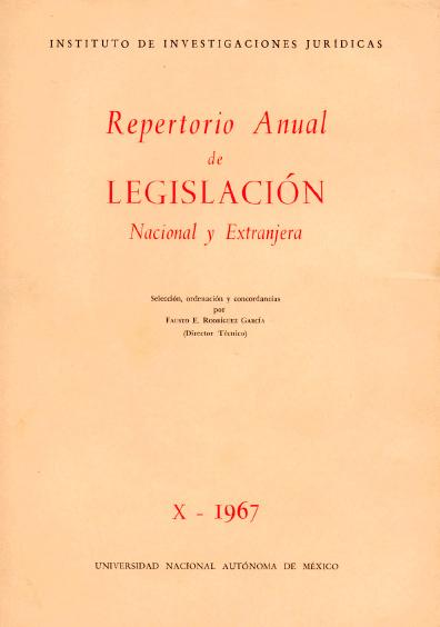 Repertorio anual de legislación nacional y extranjera, X-1967