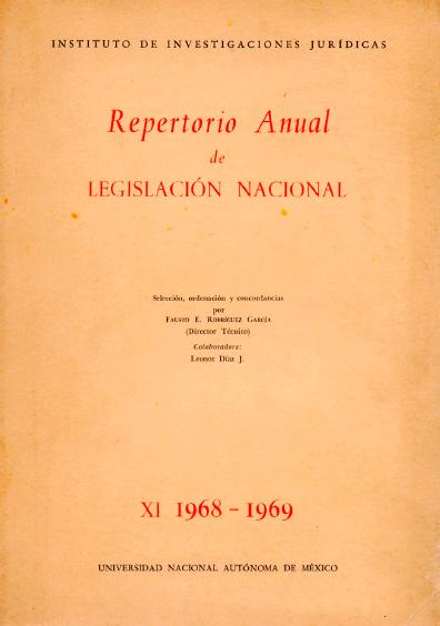 Repertorio anual de legislación nacional, XI-1968-1969