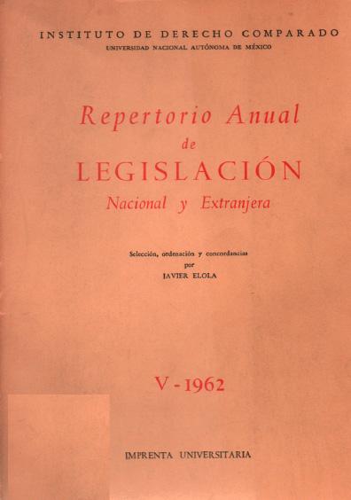 Repertorio de legislación nacional y extranjera, V-1962