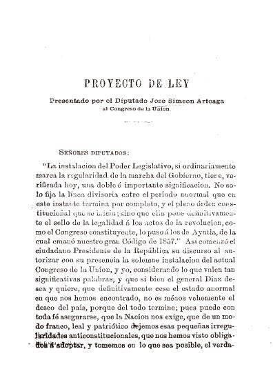 Proyecto de ley presentado por el diputado José Simeón Arteaga al Congreso de la Unión. Colección Jorge Denegre-Vaught Peña
