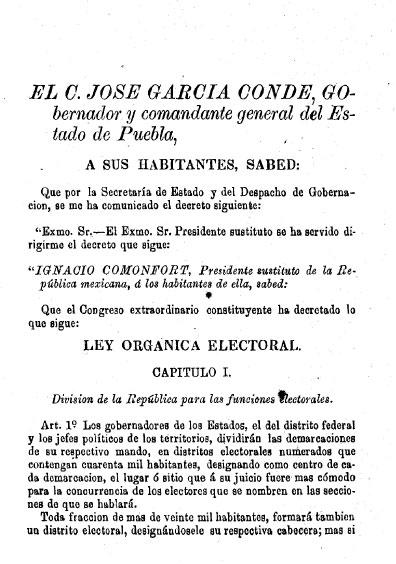 Ley Orgánica Electoral de 1872. Colección Jorge Denegre-Vaught Peña