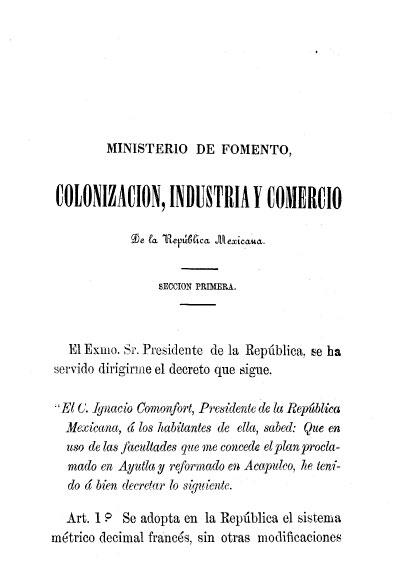 Decreto expedido respecto a la adopción y propagación del sistema métrico decimal francés. Colección Jorge Denegre-Vaught Peña