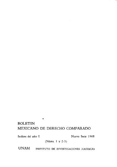 Boletín Mexicano de Derecho Comparado, Índices del año I, Nueva serie, 1982, núm. 1, 2 y 3