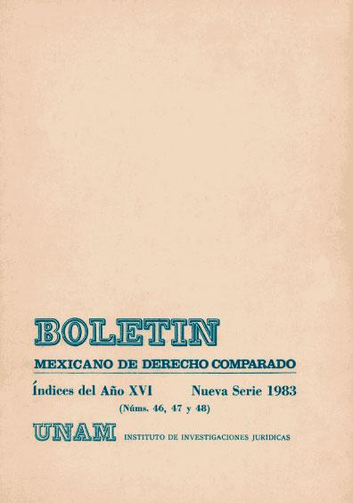 Boletín Mexicano de Derecho Comparado. Índices del año XVI, nueva serie, números 46, 47 y 48, 1993