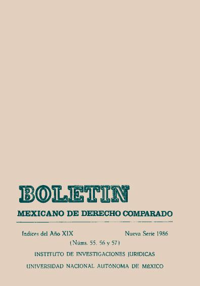 Boletín Mexicano de Derecho Comparado. Índices del año XIX, nueva serie, números 55, 56 y 57, 1986