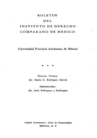 Boletín del Instituto de Derecho Comparado. Índices del año XIX, números 55 y 56-57, 1966