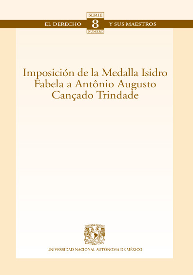 """Imposición de la medalla """"Isidro Fabela"""" a Antônio Augusto Cançado Trindade. Colección Facultad de Derecho"""