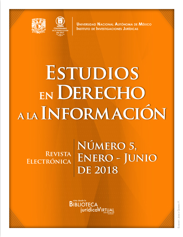 <i><b>Estudios en Derecho a la Información, número 5, enero-junio de 2018</i></b>
